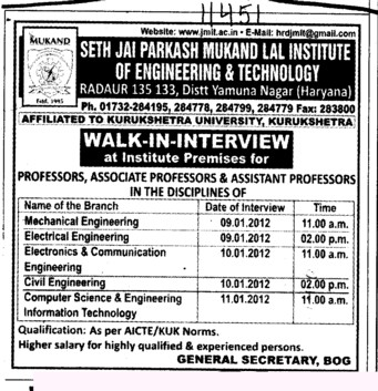 Professor,Asstt Professor and Associate Professor (Seth Jai Parkash Mukand Lal Institute of Engineering and Technology (JMIT))
