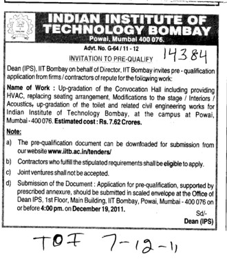 Invitation to Pre qualify (Indian Institute of Technology (IITB))