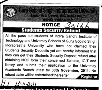 Students Security Refund (Guru Gobind Singh Indraprastha University GGSIP)