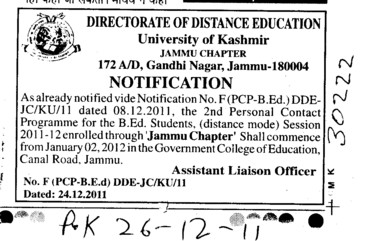Personal Contact Programme for the BEd (Jammu University)