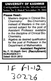 Masters degree in Clinical Biochemistry and Assitant Professor required (University of Kashmir Hazbartbal)