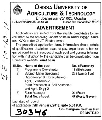 Programme Coordinator and Farm Manager etc (Orissa University of Agriculture and Technology)