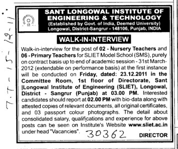 Nursery Teachers and Primary Teachers (Sant Longowal Institute of Engineering and Technology SLIET)