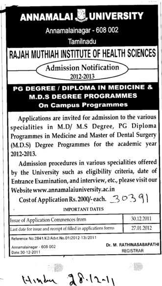 Diploma and Degree in Medicine and MDS (Annamalai University)