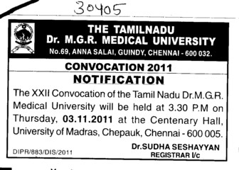 Convocation 2011 (Tamil Nadu Dr MGR Medical University)