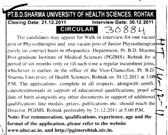 Physiotherapist and Junior Physiotherapist (Pt BD Sharma University of Health Sciences (BDSUHS))