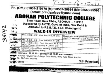 Senior Lecturer and Workshop Instructor etc (Abohar Polytechnic College)