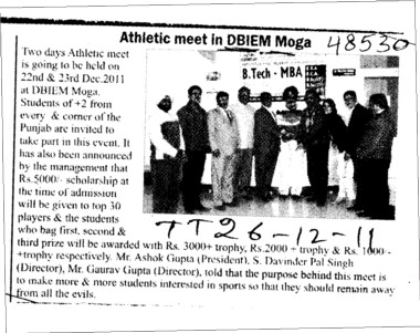 Athletic meet in DBIEM Moga (Desh Bhagat Institute of Engineering and Management)