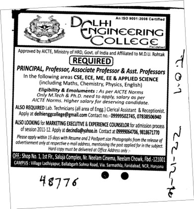 Principal,Professor,Asstt Professor and Associate Professor (Delhi Engineering College Ladiyapur)
