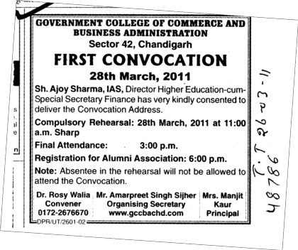 First Annual Convocation (Government College of Commerce and Business Administration (Sector 42))