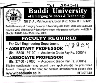 Assistant Professor and Associate Professor (Baddi University of Emerging Sciences and Technologies)
