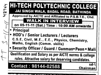 Principal and HODs etc (Hi Tech Polytechnic College)