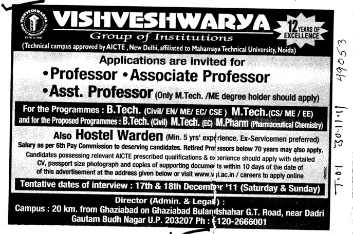 Professor,Asstt Professor and Associate Professor (Vishveshwarya Group of Institutions (VGI))