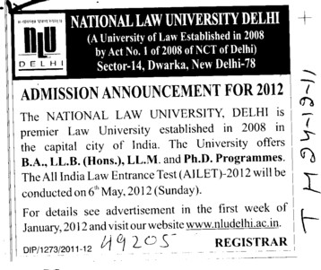 BA,LLB,LLM and PhD Programmes (National Law University)