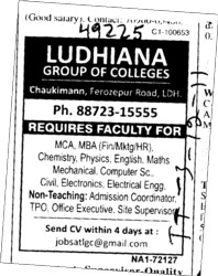 Faculty for MCA,MBA and PCM etc (Ludhiana Group of Colleges (LGC) Chowkimann)
