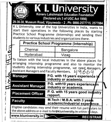 Assistant Manager and Placement Officer etc (KL University)