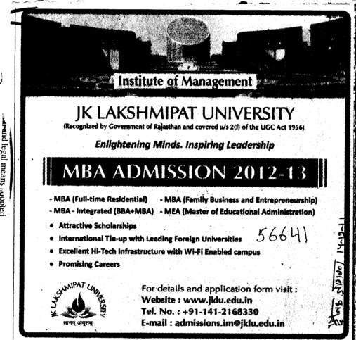 MBA Course (JK Lakshmipat University)
