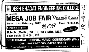 Mega Job fair for BTech and MBA etc (Desh Bhagat Engineering College)