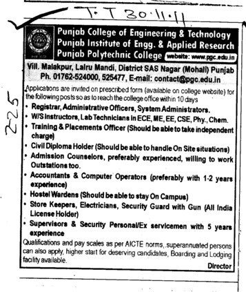 Registrar,Administrative Officer and Accountants etc (Punjab College of Engineering and Technology)