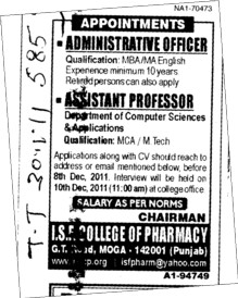 Assistant Professor for BTech (ISF College of Pharmacy)