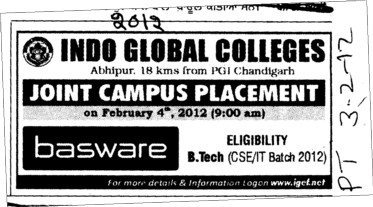 Joint Campus Placement (Indo Global Group of Colleges)