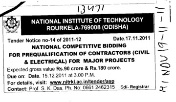 National Competitive Bidding for Prequalification of Contractor (National Institute of Technology (NIT))
