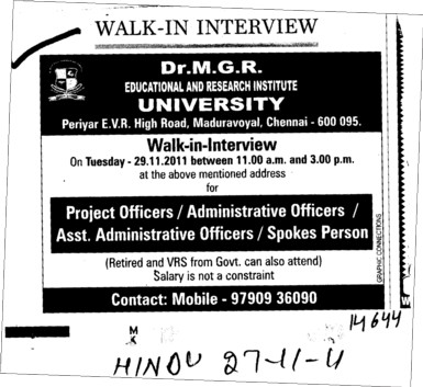 Project Officer,Administrative Officer and Spokes Person etc (Dr MGR Educational and Research Institute University)