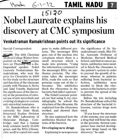 Nobel Laureate explains his discovery at CMC symposium (CMC Medical College)