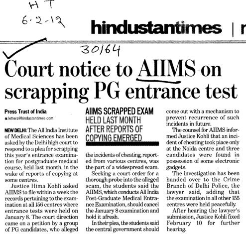 Court notice to AIIMS on scrapping PG entrance test (All India Institute of Medical Sciences (AIIMS))