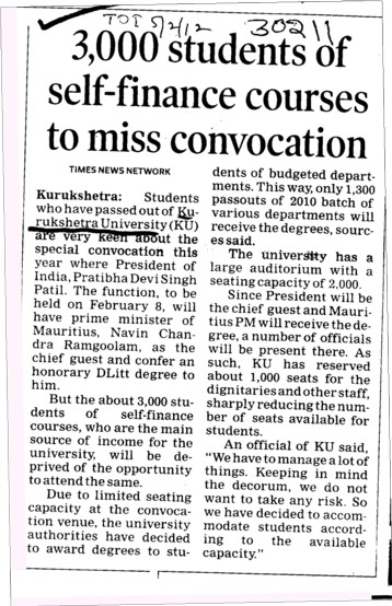 3000 Students of self finance courses to miss convocation (Kurukshetra University)