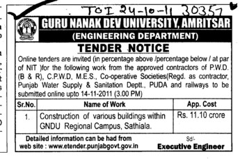 Construction of various Buildings with in GNDU Regional Campus (Guru Nanak Dev University (GNDU))