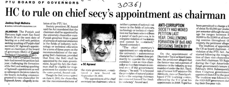 HC to rule on chief secys appointment as chairman (Punjab Technical University PTU)