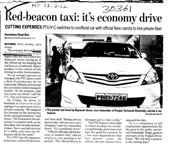 Red beacon taxi its ecenomy drive (Punjab Technical University PTU)