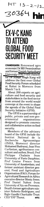 Ex VC Kang to attend Global Food Security meet (Punjab Agricultural University PAU)
