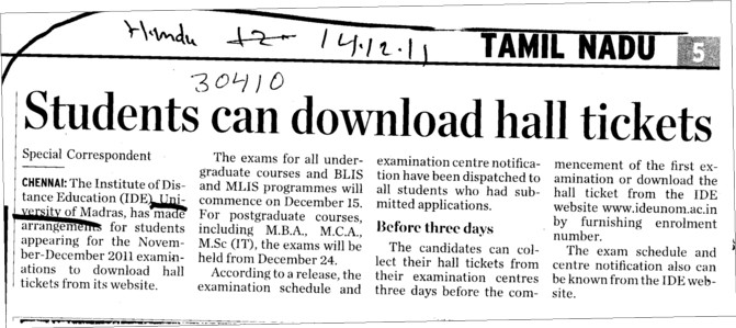 Students can downloaded hall tickets (University of Madras)