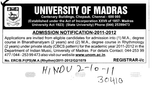 MA Course (University of Madras)