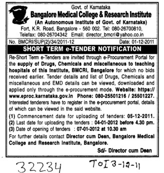 Supply of Drugs and Chemicals etc (Bangalore Medical College and Research Institute (BMC & RI))