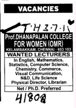 Lecturers for English,Math and Science etc (Prof Dhanapalan College for Women)