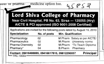 Pharmacology and Pharmacy Course (Lord Shiva College of Pharmacy)