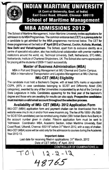 MBA Course (Indian Maritime University)