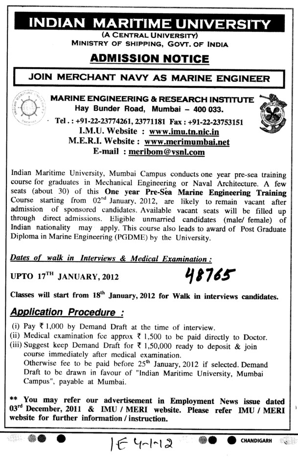 Joint Merchant Navy as Marine Engineer (Indian Maritime University)