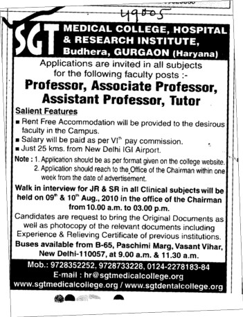 Professor,Asstt Professor and Associate Professor (SGT Medical College)