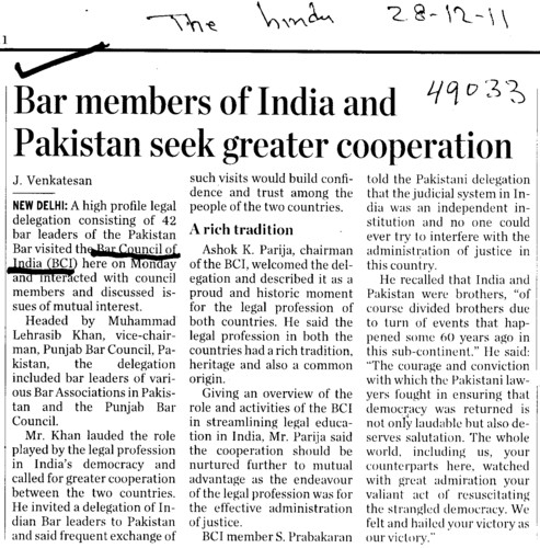 Bar members of India and Pakistan seek greater cooperation (Bar Council of India (BCI))