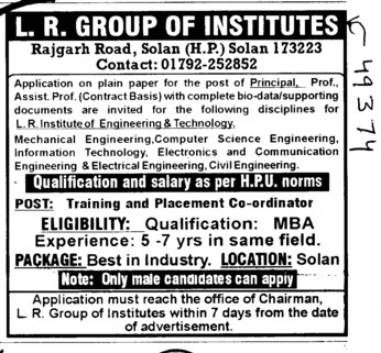 Principal and Professor on Contract basis (LR Group of Institutions)
