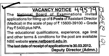 Assistant Director (National Board of Examinations)