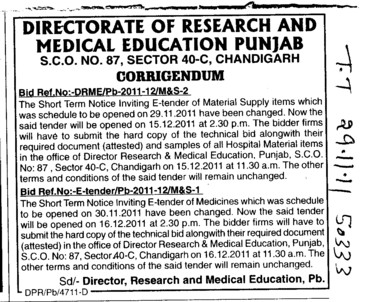 Change in the Tender (Director Research and Medical Education DRME Punjab)