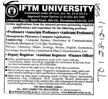 Professor,Asstt Professor and Associate Professor (IFTM University)