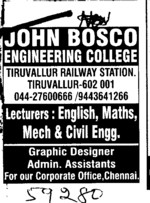 Lecturer in English and Hindi etc (John Bosco Engineering College)