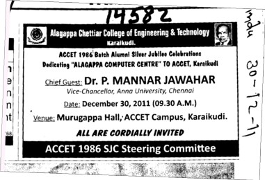 Message of VC Dr P Manvar Jawahar (Alagappa Chettiar College of Engineering and Technology)