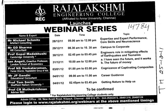 Webinar Series (Rajalakshmi Engineering College)